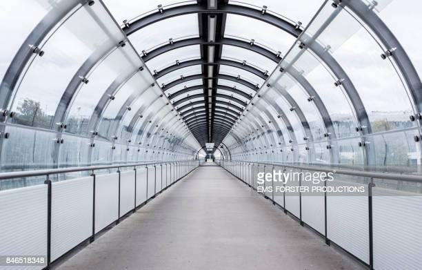 bluish tunnel tube view - modern architecture
