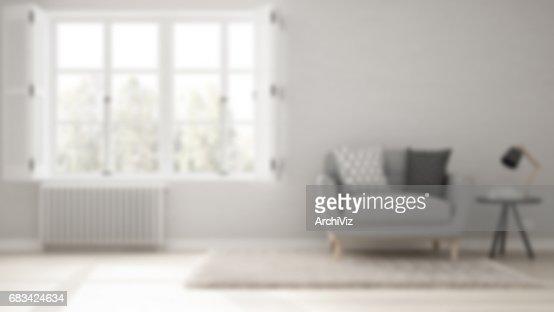 Blur background interior design, minimalist living room, simple white living with big window, scandinavian classic : Stock Photo