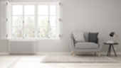 Blur background interior design, minimalist living room, simple white living with big window, scandinavian classic