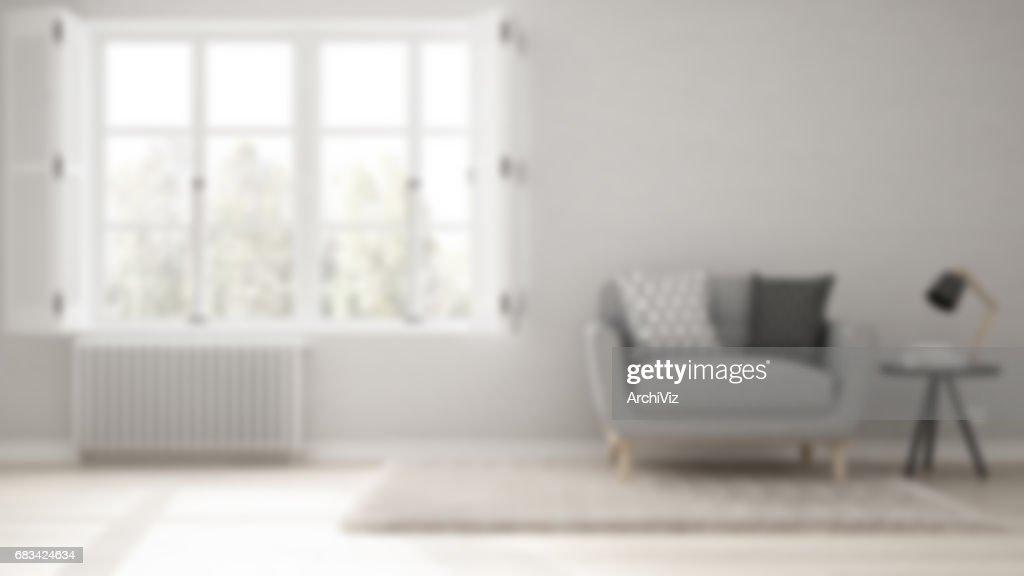 Blur Background Interior Design, Minimalist Living Room, Simple White Living  With Big Window,