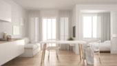Blur background interior design, scandinavian kitchen with sofa and table, wooden parquet floor