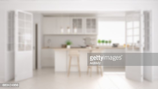 Blur background interior design, scandinavian minimalistic classic kitchen with wooden and white details : Stock Photo