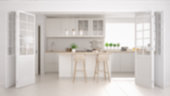 Blur background interior design, scandinavian minimalistic classic kitchen with wooden and white details