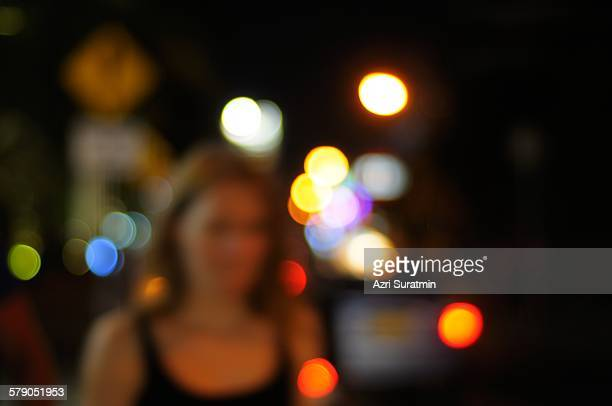 Blur image of Australian tourist at Kuta street
