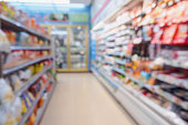 blur snack, food, milk and dairy products shelves in supermarket convenience store for background