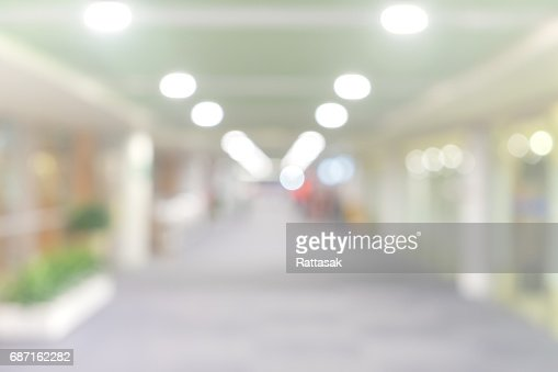 blur walkway in the building at night for abstract background. : Stock Photo