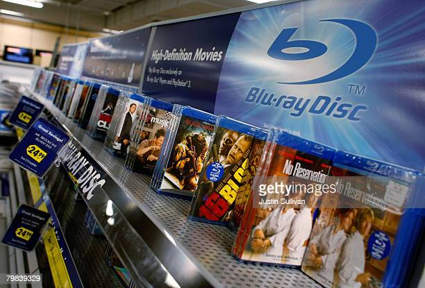 Bluray discs are displayed at a Best Buy store February 19 2008 in San Francisco California Toshiba Corp announced today that it is discontinuing...