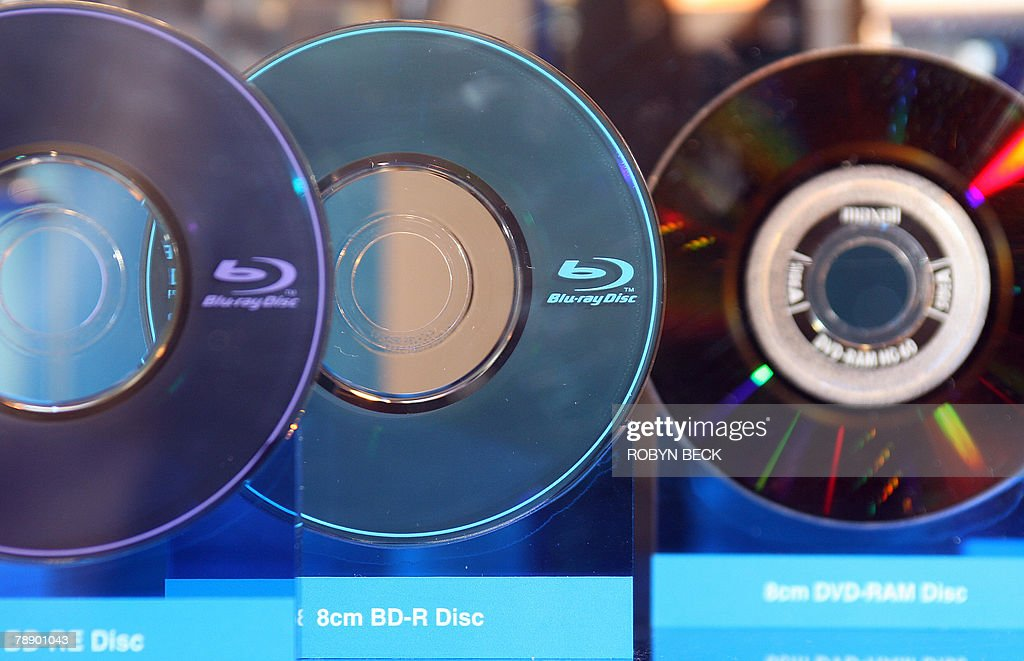 Blu-ray discs are one display at the 2008 Consumer Electronics Show (CES) in Las Vegas, Nevada, 09 January 2008.