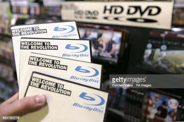 Bluray DVDs are held in HMV Oxford Street London on the day that Bluray emerged as winner in the format war with its rival HD DVD
