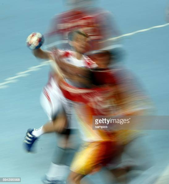 Blurred action of players during the IHF World Championships match Mazedonia vs Russia in Croatia