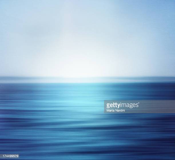 Blurred and deep blue ocean