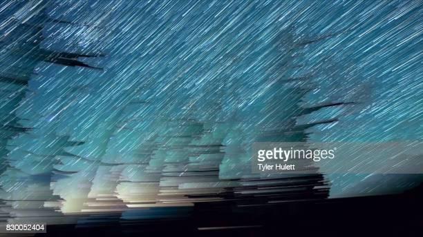 Blurred Aqua Night Sky Star Trails Over Oregon