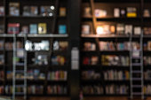 blurred backgroun of bookshelf in a library