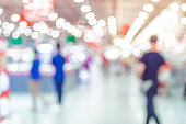 Blurred background, Customer shopping at supermarket store with bokeh light.