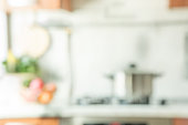Blurred background. Modern kitchen with bokeh light.
