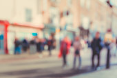 blurred background of Crowded street in Cambridge, UK