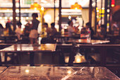 Abstract blurred background of restaurant interior , vintage filter applied.