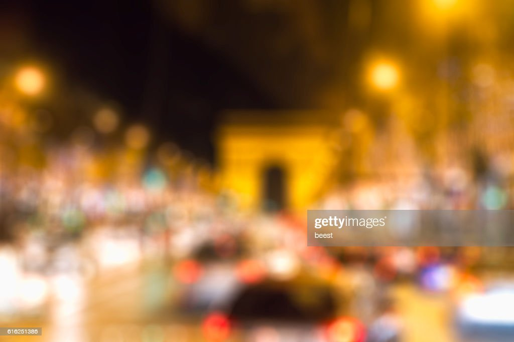 Blurred cars in motion with blurred bokeh : Stock Photo