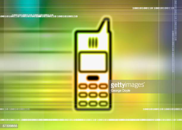 blurred computer icon of a mobile phone with numbers superimposed