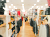 Blurred customer in clothing shop with bokeh background