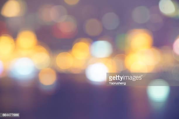 Blurred Defocused Lights of Heavy Traffic on a Wet Rainy