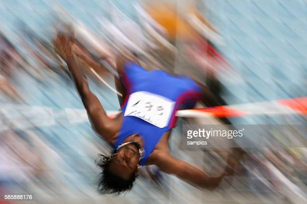 Blurred image of an athlete during the high jupm competition during the 11th IAAF World Championships in Athletics at Nagai stadium of Osaka Japan