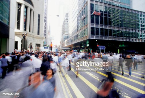 Blurred image of Hong Kong Central Business District, China, blurred motion, selective focus : Stock Photo