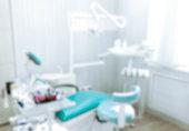 Blurred image of the dentist office, medical background. Dentist cabinet.