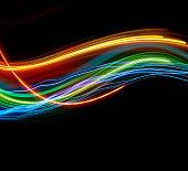 Blurred light trails against black background