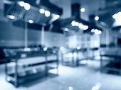 Blurred Modern Kitchen Appliance Equipment Interior perspective in Hotel