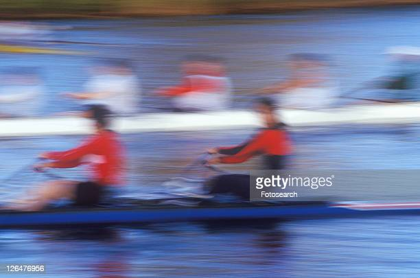 Blurred motion image of rowers