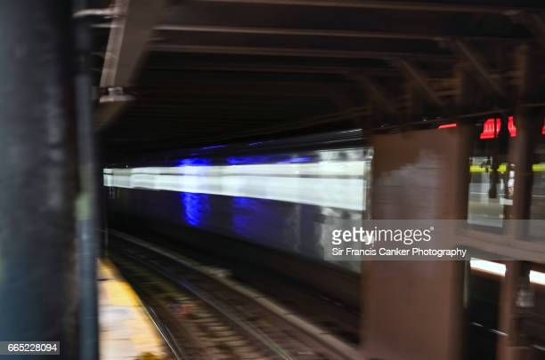 Blurred motion of a New York City subway train
