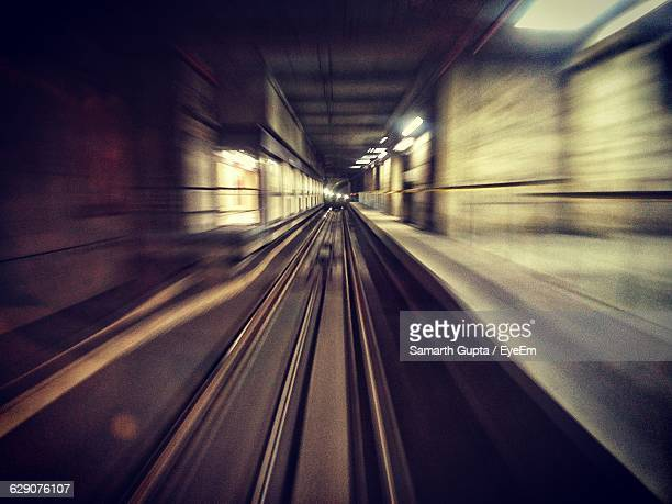 Blurred Motion Of Railroad Tracks In Subway