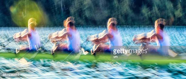 Blurred motion of rowing on a lake