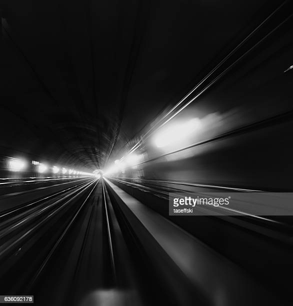 Blurred Motion Of Subway Train In Tunnel