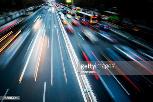 Blurred motion of traffic in the city at night
