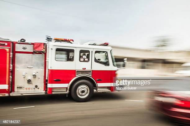 Blurred motion shot of speeding fire engine