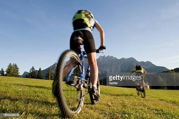 blurred mountain biker