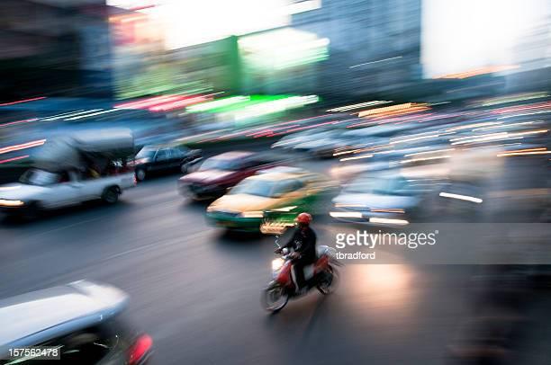 Blurred Night Traffic In Bangkok, Thailand
