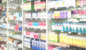 Blurred medicines shelves in pharmacy shop , Blurred drug store, use as background.