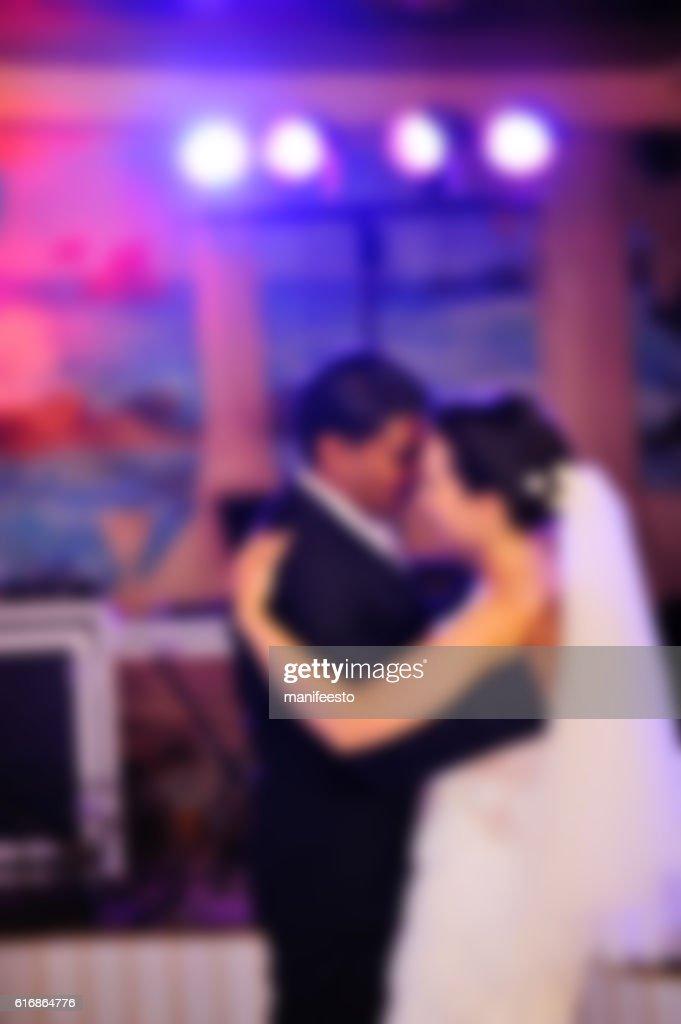 blurred photo of bride and groom, Wedding couple : Stock Photo