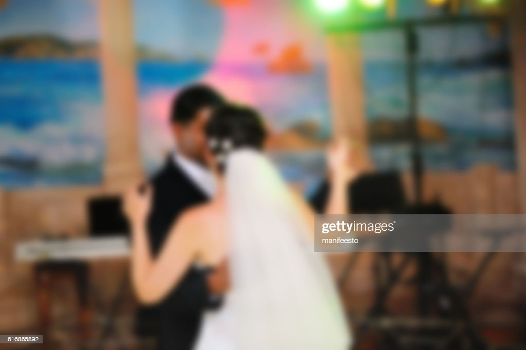 blurred photo of bride and groom, Wedding couple : Stock Photo