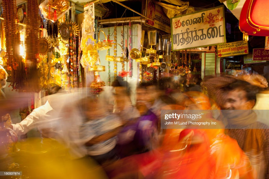 Blurred scene of busy Indian Market, Rajasthan, India