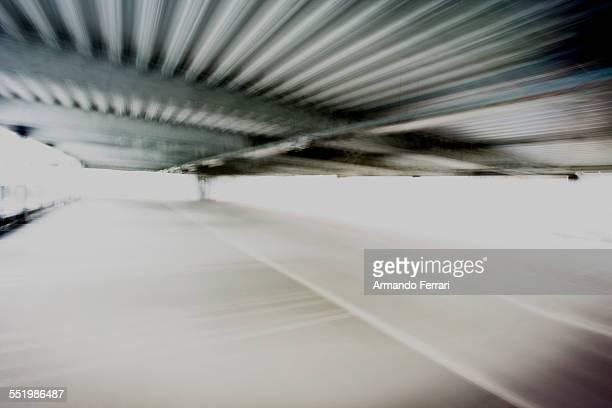 Blurred shot under corrugated roof