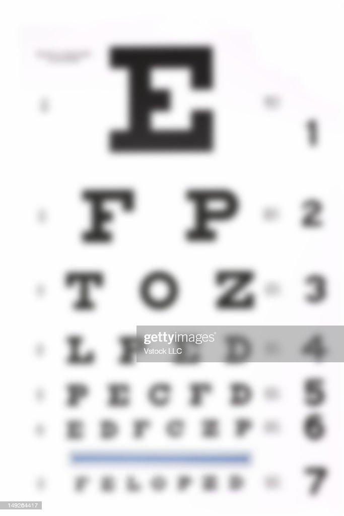 Blurred sight test chart