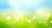 Sky grass blurred illustration.Nature bokeh horizontal banner.De focused landscape abstract wallpaper.Panorama wallpaper.