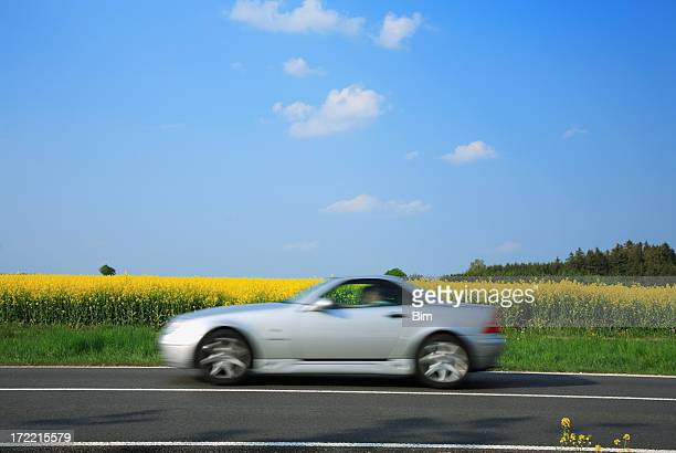 Blurred Sports Car Driving Through Summer Landscape