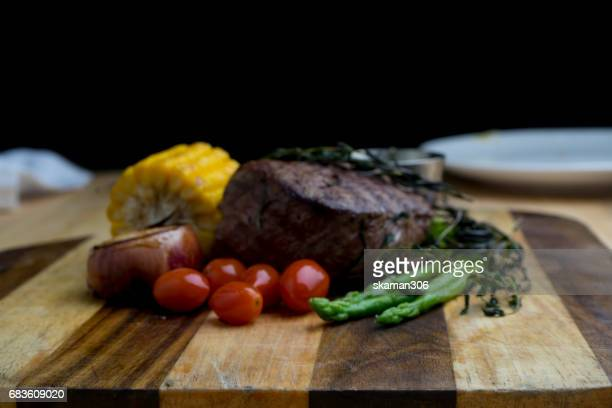blurred tenderloin beef Burger cooking with french style on light and relax table