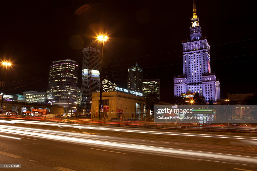 Blurred view of traffic in city at night : Stock Photo