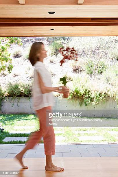Blurred woman walking and holding a potted plant
